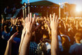 Hands of happy people crowd having fun at summer live rock fest Royalty Free Stock Photo