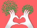 Hands heart shape with leaves , nature lovers , World Environment Day Royalty Free Stock Photo