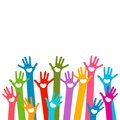 Hands with hearts colorful raised in the air Stock Image