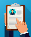 Hands hold CV profile. Choose business people to hire