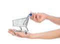 Hands hold empty shopping cart for sale isolated on a white background Royalty Free Stock Image
