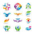 Hands hold and protect design elements with which Royalty Free Stock Photography