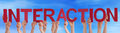 Hands hold red straight word interaction blue sky many caucasian people and holding letters or characters building the english on Royalty Free Stock Photos