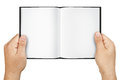 Hands Holding Blank Open Book Isolated Royalty Free Stock Photo