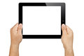 Hands holding blank screen tablet pc male black electronic in landscape orientation with white displayed towards the camera Stock Images