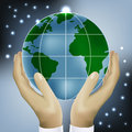 Hands holding earth vector this is file of eps format Royalty Free Stock Photography