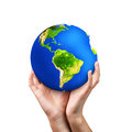 Hands holding earth on white background Royalty Free Stock Photo