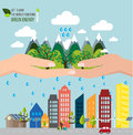 Hands holding forest want to save the world concept vector Royalty Free Stock Photography