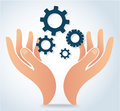Hands holding gear design logo icon vector