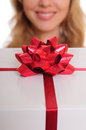 Hands holding gift box Royalty Free Stock Images