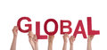 Hands holding global many the red word isolated Royalty Free Stock Image