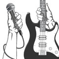 Hands holding a microphone and a guitar. Black and white vintage illustration. Royalty Free Stock Photo