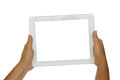 Hands holding modern tablet pc hand isolated on white background with copy space Stock Images