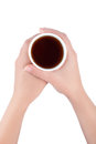 Hands holding paper cup of tea or coffee isolate Royalty Free Stock Photo