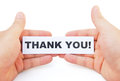 Hands holding paper of thank you with clipping path Stock Image