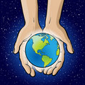 Hands Holding Planet. Stock Photography