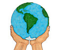 Hands holding planet earth isolated over white Stock Image