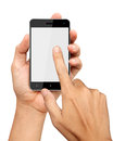 Hands are holding and point on Smart Phone Royalty Free Stock Photo
