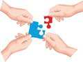 Hands holding a puzzle piece made in the corel draw Stock Images