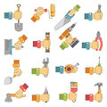 Hands holding repair carpentry work tools vector flat icons set