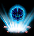 Hands holding shiny human brain on black background Stock Photography