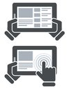 Hands holding tablet computer and open website surfing internet Royalty Free Stock Photos