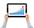 Hands Holding Tablet PC With Success Chart Stock Photo