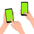 Hands holding touch phone