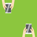 Hands holding white smartphones on a green background. Vector illustration in flat design.