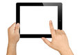 Hands Holding Working Blank Screen Tablet Pc Royalty Free Stock Photo