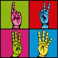 Hands human set collection symbol
