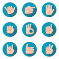 Hands icons vector set. Modern flat style.
