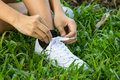 Hands lacing with bootlace the sneaker closeup on grassland Stock Image