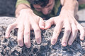 Hands of Man Climbing Royalty Free Stock Photo