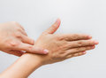 Hands of the man with scar. Royalty Free Stock Photo