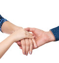 Hands of man woman and girl together isolated on white background Royalty Free Stock Image