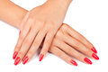 Hands manicure on white background Royalty Free Stock Image