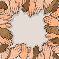 Hands many surrounding reaching towards one another Royalty Free Stock Photos