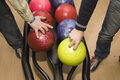 Hands of men by bowling Stock Image