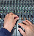 Hands On Mixing Royalty Free Stock Photo