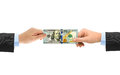 Hands and money puzzle Royalty Free Stock Photo