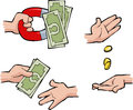 Hands with money set of Royalty Free Stock Photo