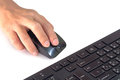 Hands on mouse while working job isolate on white Royalty Free Stock Photo