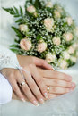 Hands of new married Royalty Free Stock Photos