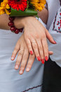 The hands of a newly-married couple after the wedding Royalty Free Stock Photo