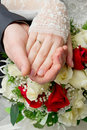 Hands of the newlyweds with rings Royalty Free Stock Photography