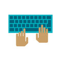 hands over keyboard device design Royalty Free Stock Photo