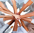 Hands overlapped-showing unity Royalty Free Stock Photo