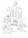 Hands, palm with sacred and science symbols. Stay curious lettering. Hand drawn vector illustration