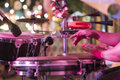 Hands on percussion, Street music background Royalty Free Stock Photo